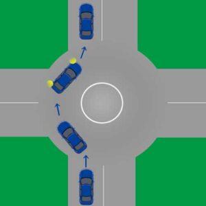 ラウンドアバウトの説明図。直進の場合。